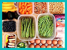 Picture of carrots, asparagus, beans, eggs, berries and other food stuffs found to be essential in Nutritional Therapy