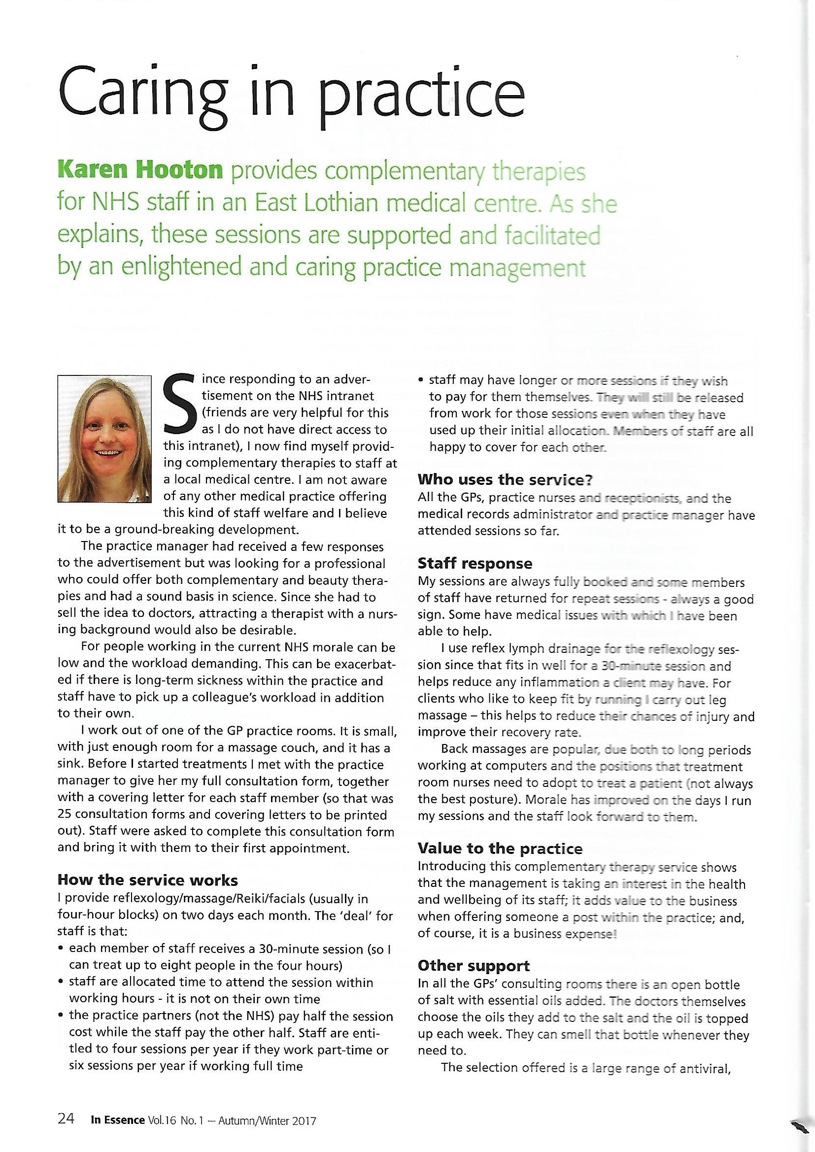 Caring in practice article page 1 In Essence IFPA journal